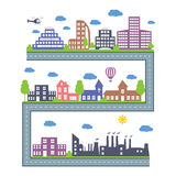 City Skylines. Landscape constructor icons set. Vector elements of town isolated on white. Stock Photos