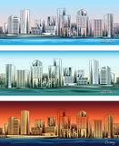 City skylines in morning, afternoon and evening Stock Photos