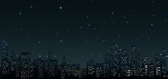 City skylines at night .urban scene. Illustration of City skylines at night .urban scene
