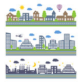 City Skylines vector icons set Stock Images