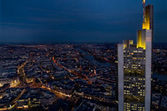 City skyscraper at night. An aerial shot of Frankfurt, Germany by night stock photo