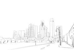 City Skyscraper Sketch View Cityscape Skyline. Vector Illustration Royalty Free Stock Image