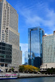 City skyscrapers along Chicago river. City skyscrapers around Chicago river at North Michigan Avenue and the Michigan Avenue. Chicago, Illinois, United States Stock Photography