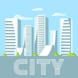 City skyscrapers background in blue colors. Cityscape conceptual illustration for construction and tourism business Royalty Free Stock Image