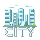 City skyscrapers background in blue colors. Cityscape conceptual illustration for construction and tourism business Royalty Free Stock Images