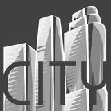 City skyscrapers background in gray colors stock illustration
