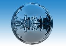 City, Skyscrapers, Ball, Mirroring Stock Image