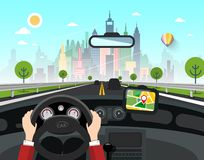 City with Skyscrapers Behind the Car Window. On Street royalty free illustration