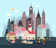 City with Skyscrapers and Houses. Abstract Vector Flat Design Town with People. Urban Landscape royalty free illustration