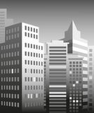 City skyscrapers. Image of the metropolis with high-rise buildings in gray Royalty Free Stock Image