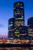 City skyscrapers in Moscow at sunset Stock Photos