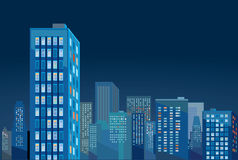 City skyscrapers at night Stock Images