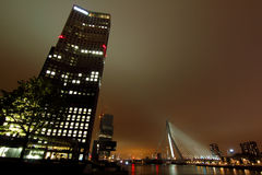 City skyscrapers night lights Rotterdam Royalty Free Stock Photography