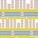 City skyscrapers and road street seamless pattern. Royalty Free Stock Image
