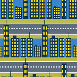 City skyscrapers and road street seamless pattern. Royalty Free Stock Images