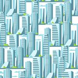City skyscrapers seamless pattern in blue colors. Cityscape illustration for construction and tourism business Stock Photos