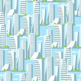 City skyscrapers seamless pattern in blue colors. Cityscape illustration for construction and tourism business Stock Image