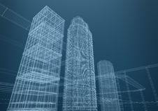 City of skyscrapers in shapes, concept Royalty Free Stock Photography