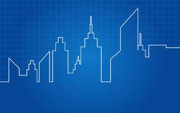 City Skyscrapers Skyline Architectural Blueprint Royalty Free Stock Photography