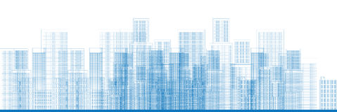 City Skyscrapers Skyline Vector. Outline City Skyscrapers in blue color Vector illustration Stock Images
