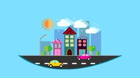 A city, a small city hanging in the air in a flat style with houses with a sloping tile roof, cars, trees, birds, clouds, sun, roa. D, lantern in the afternoon Stock Photography