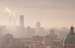 City smog. Skyline of a city with smokestaks and smog Stock Images