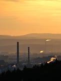 City with smoking chimneys Stock Photo