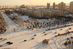 City after snow Stock Photography