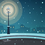 City in the snow. Cartoon illustration of the street retro lamp at night time with cityscape in background Stock Images
