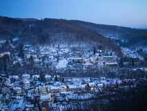City in the snow at the mountain. In the valley Stock Image