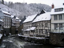 City snow winter Germany. Little town during heavy winter, Monschau Germany Royalty Free Stock Photography