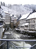 City snow winter Monschau, Germany stock photography