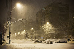 City snowfall Royalty Free Stock Image