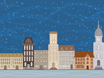 The city is snowing. Snow in the city in the evening vector illustration
