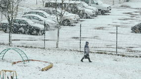 City in the snowstorm. Real time footage stock footage