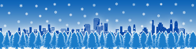 City in a snowy night. Calm city covered in snowflakes at night. Vector ilustration stock illustration