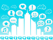City Social media Icons. Illustration of city with social media icons in speech bubbles Stock Image