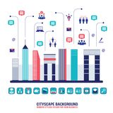 City social network Urban landscape filled with. Business icons communication concept City infographic elements Modern flat design style Vector illustration Stock Images
