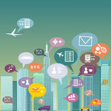 City social network. Urban landscape filled with social network icons, vector illustration, no transparencies Stock Image