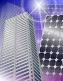 City and solar panels vector illustration