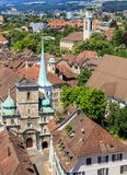 City of Solothurn in Switzerland. As seen from the tower of the St. Ursus cathedral in summertime stock photos