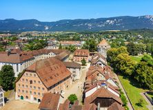 City of Solothurn in Switzerland. As seen from the tower of the St. Ursus cathedral in summertime Stock Photo