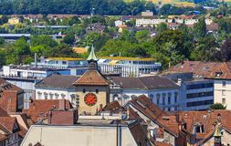 City of Solothurn in Switzerland. As seen from the tower of the St. Ursus cathedral in summertime stock photography