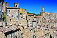 City of Sorano in the province of Grosseto in Tuscany, Italy. City of Sorano in the province of Grosseto in Tuscany, Italy Stock Images