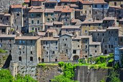 City of Sorano in the province of Grosseto in Tuscany, Italy. City of Sorano in the province of Grosseto in Tuscany, Italy Royalty Free Stock Photo
