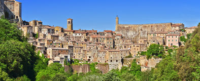 City of Sorano in the province of Grosseto in Tuscany, Italy. City of Sorano in the province of Grosseto in Tuscany, Italy Stock Photos