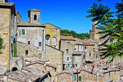 City of Sorano in the province of Grosseto in Tuscany, Italy. City of Sorano in the province of Grosseto in Tuscany, Italy Royalty Free Stock Photos
