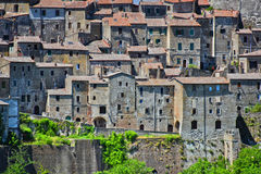 City of Sorano in the province of Grosseto in Tuscany, Italy.  Stock Photos
