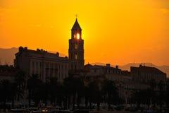 City of Split Riva at sunrise. Landmarks silhouette, Dalmatia, Croatia stock photos