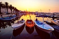 City of Split Riva at sunrise. Landmarks silhouette, Dalmatia, Croatia stock photography